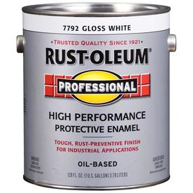 Rust-Oleum Professional High Performance White Gloss Gloss Oil-Based Enamel Interior/Exterior Paint (Actual Net Contents: 128-fl oz)