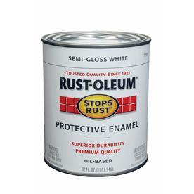 Shop rust oleum alkyd enamel stops rust white semi gloss oil based enamel interior exterior - Exterior alkyd paint decoration ...