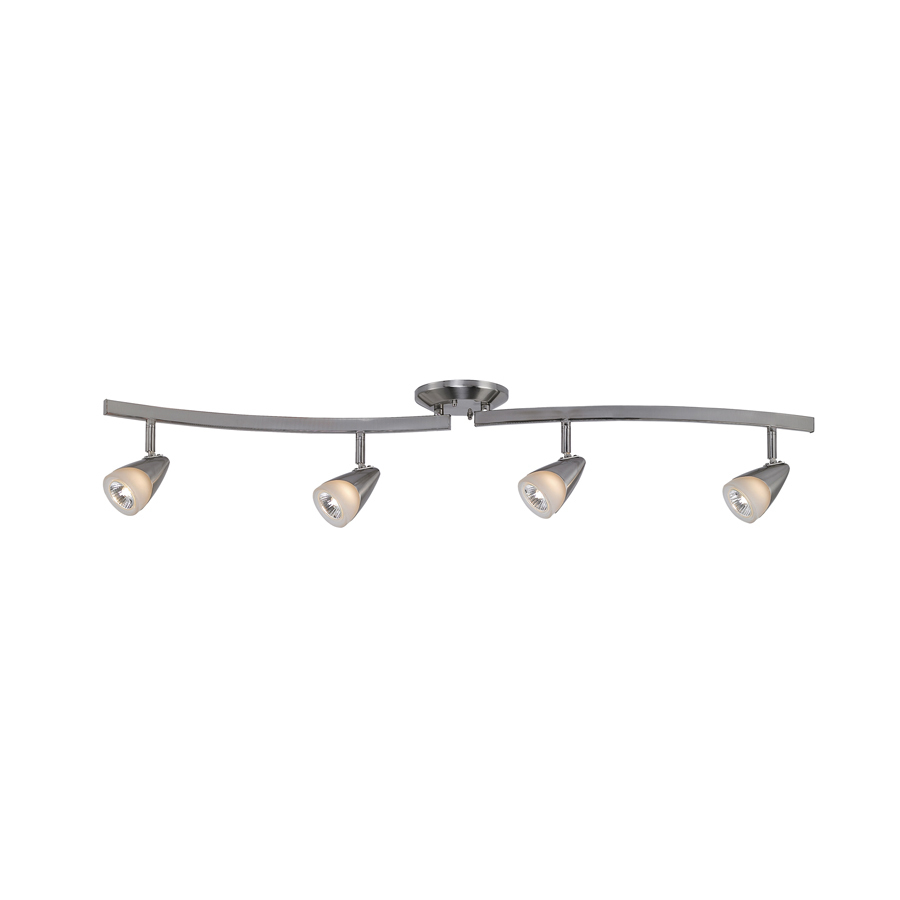 portfolio 4 light brushed steel fixed track light kit at. Black Bedroom Furniture Sets. Home Design Ideas