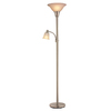 Portfolio 71-in 3-Way 2-Light Brushed Steel Torchiere Floor Lamp with White Shade