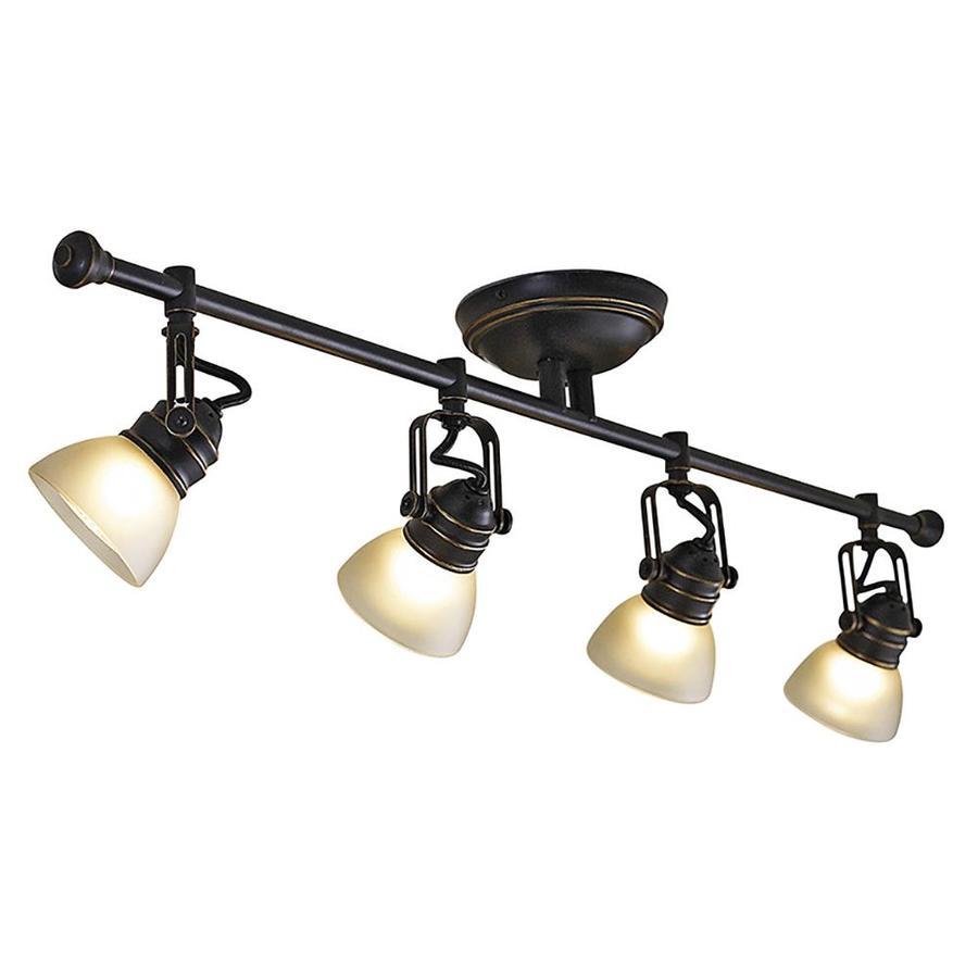 Shop allen + roth Tucana 4-Light Bronze Track Bar Fixed Track Light ...
