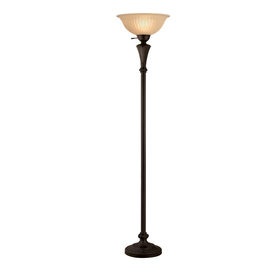 75 in 3 way switch bronze torchiere indoor floor lamp with glass shade. Black Bedroom Furniture Sets. Home Design Ideas
