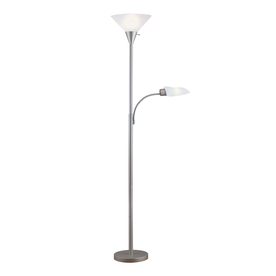 Portfolio 71-in 3-Way 2-Light Silver Torchiere Floor Lamp with White Shade