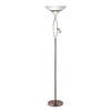 Catalina 70-in 2-Light Brushed Steel Torchiere Floor Lamp with Frosted Glass Shade