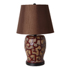 Catalina 22.75-in 3-Way Burgundy Indoor Table Lamp with Fabric Shade