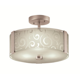 Portfolio 13-in Brushed Steel Frosted Glass Semi-Flush Mount Light