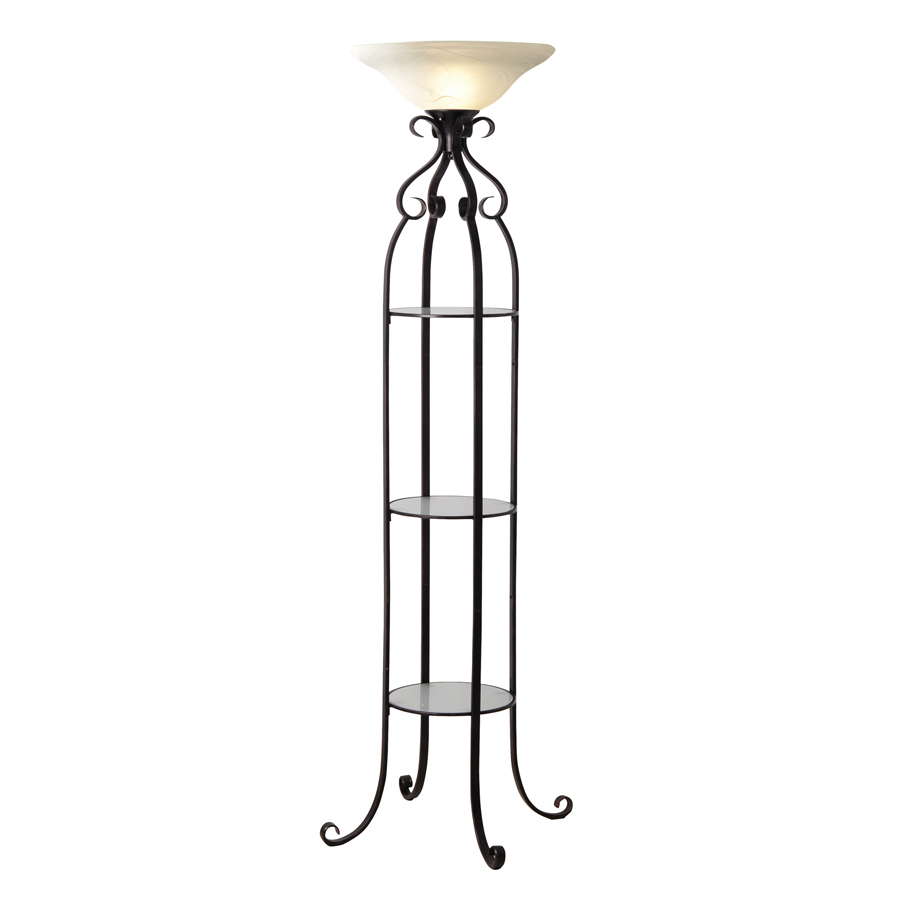 Shop allen roth 68 3 4quot bronze etagere torchiere for Etagere torchiere floor lamp with 3 glass shelves