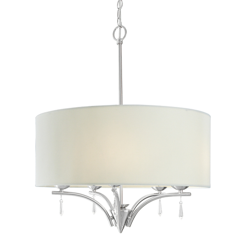 "Zoomed: Style Selections 23""W Brushed Nickel Style Selections 5-Light Chandelier Pendant Light with Faux Crystals Shade"