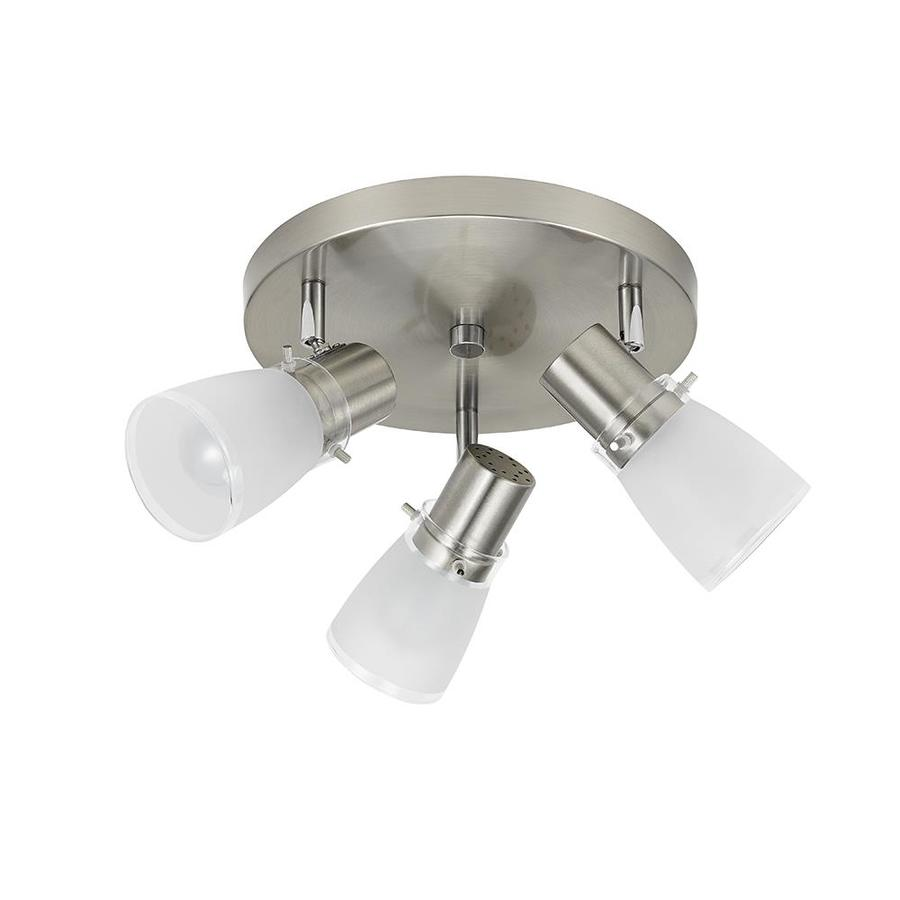 Portfolio 6 Light Track Lighting: Shop Portfolio 3-Light Brushed Nickel Flush Mount Fixed