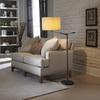 allen + roth 62-in 3-Way Bronze Indoor Floor Lamp with Fabric Shade
