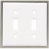 betsyfieldsdesign 2-Gang White Standard Toggle Ceramic Wall Plate