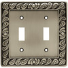 betsyfieldsdesign 2-Gang Brushed Satin Pewter Standard Toggle Metal Wall Plate