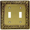 betsyfieldsdesign 2-Gang Tumbled Antique Brass Standard Toggle Metal Wall Plate