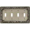 betsyfieldsdesign 4-Gang Brushed Satin Pewter Toggle Wall Plate