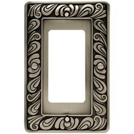 betsyfieldsdesign 1-Gang Brushed Satin Pewter Decorator Metal Wall Plate