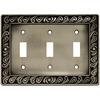 betsyfieldsdesign 3-Gang Brushed Satin Pewter Standard Toggle Metal Wall Plate