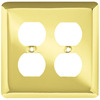 Style Selections Stamped Round 2-Gang Polished Brass Double Duplex Wall Plate