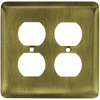 Brainerd 2-Gang Antique Brass Standard Duplex Receptacle Stainless Steel Wall Plate