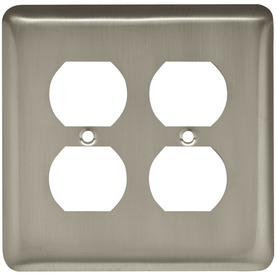 Style Selections 2-Gang Satin Nickel Round Wall Plate