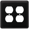 Brainerd 2-Gang Flat Black Standard Duplex Receptacle Stainless Steel Wall Plate