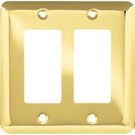 Style Selections 2-Gang Polished Brass Decorator Wall Plate
