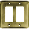 Brainerd 2-Gang Antique Brass Decorator Rocker Stainless Steel Wall Plate
