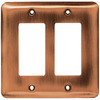 Brainerd 2-Gang Brushed Copper Decorator Rocker Steel Wall Plate