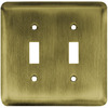Brainerd 2-Gang Antique Brass Standard Toggle Steel Wall Plate