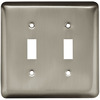 Style Selections 2-Gang Satin Nickel Standard Toggle Steel Wall Plate