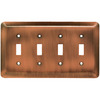 Brainerd 4-Gang Brushed Copper Standard Toggle Stainless Steel Wall Plate