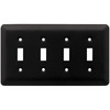 Brainerd Stamped Round 4-Gang Flat Black Quad Toggle Wall Plate