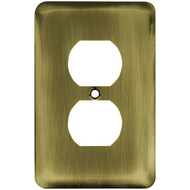 Brainerd 1-Gang Antique Brass Standard Toggle Steel Wall Plate