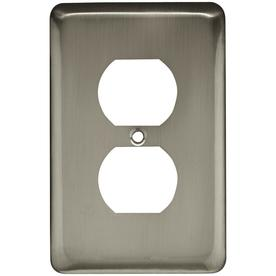 Style Selections 1-Gang Satin Nickel Standard Single Receptacle Steel Wall Plate