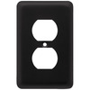 Style Selections 1-Gang Flat Black Standard Single Receptacle Steel Wall Plate