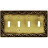 betsyfieldsdesign 4-Gang Tumbled Antique Brass Standard Toggle Metal Wall Plate