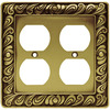 betsyfieldsdesign 2-Gang Tumbled Antique Brass Standard Duplex Receptacle Metal Wall Plate