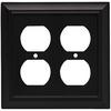 Brainerd 2-Gang Flat Black Standard Duplex Receptacle Metal Wall Plate