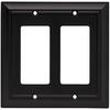 Brainerd 2-Gang Flat Black Decorator Rocker Metal Wall Plate