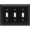 Brainerd 3-Gang Flat Black Standard Toggle Metal Wall Plate