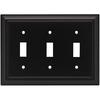 Brainerd 3-Gang Flat Black Standard Toggle Metal Wall Plate