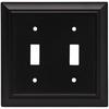 Brainerd 2-Gang Flat Black Standard Toggle Metal Wall Plate
