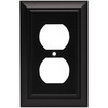 Brainerd 1-Gang Flat Black Standard Duplex Receptacle Metal Wall Plate
