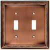 betsyfieldsdesign 2-Gang Aged Brushed Copper Standard Toggle Metal Wall Plate
