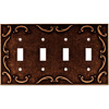 betsyfieldsdesign 4-Gang Sponged Copper Standard Toggle Metal Wall Plate