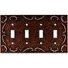 Brainerd 4-Gang Sponged Copper Standard Toggle Metal Wall Plate