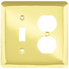 Style Selections 2-Gang Polished Brass Standard Duplex Receptacle Steel Wall Plate