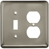 Style Selections 2-Gang Satin Nickel Standard Duplex Receptacle Steel Wall Plate