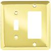 Brainerd 2-Gang Polished Brass Decorator Rocker Stainless Steel Wall Plate