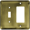 Brainerd 2-Gang Antique Brass Decorator Stainless Steel Wall Plate