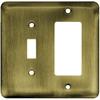 Brainerd 2-Gang Antique Brass Decorator Rocker Stainless Steel Wall Plate